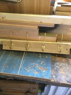 Handmade Bespoke Coat Hanger Hook 4 large pegs wood