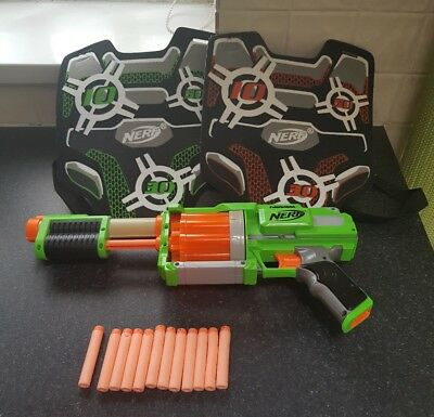 Nerf Dart Tag Gun Bundle Set Pump Action Green With 2 Velcro Vests