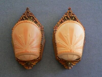 Antique Art Deco slip shade pair of sconces by beardslee with original shades.