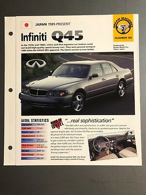 "1989 > Infiniti Q45 Sedan IMP ""Hot Cars"" Spec Sheet Folder Brochure Awesome L@@K"
