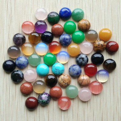 10mm Natural Gemstone Cabochons | Mixed Pack or Single Gemstone Pack | 50pcs