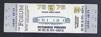 1975-76 Nhl Pittsburgh Penguins @ Los Angeles Kings Full Unused Hockey Ticket