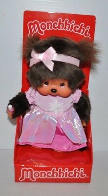 MONCHHICHI 7 inch DOLL in Pink DRESS MINT in BOX Sekiguchi