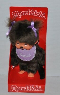 MONCHHICHI 7 inch DOLL w/ Purple Bib MINT in BOX Sekiguchi 2016