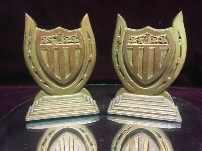 Rare Antique Cast Iron Horseshoe American 5 Star Shield Book Bookends Sculpture