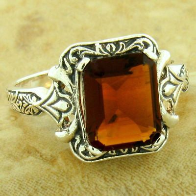 VICTORIAN 925 STERLING SILVER 3 STONE ROYAL BLUE SIM SAPPHIRE RING SIZE 6 #1142