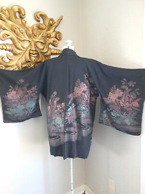 Vtg SILK JAPANESE HAORI BOHO BLACK METALLIC GARDEN FLORAL FLAPPER ROBE JACKET