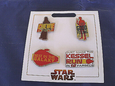 Disney Parks * STAR WARS * New 4 Pin Set on Card Trading Pins CHEWIE SOLO