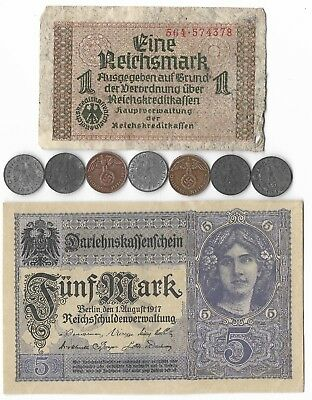 Rare Very Old WWI WWII Germany War Eagle German Coin Note Collection Lot WW Y134