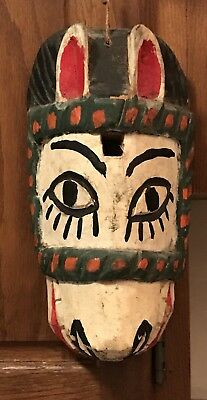 Guatemala Wooden Antique Tribe Dancing Mask Handcrafted Donkey Face circa 1960s