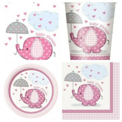 Girls Baby Shower Party Pack For 8-16 Guests Umberellaphant design
