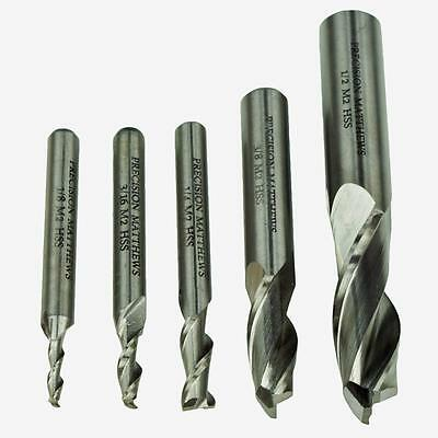 End Mill Set For Milling Machines, 5 Piece, 2 Flute Quality Hss Free Shipping!