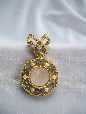 Vintage Faux Pearl & Aqua Rhinestone Mother of Pearl Face Faux Clock Brooch