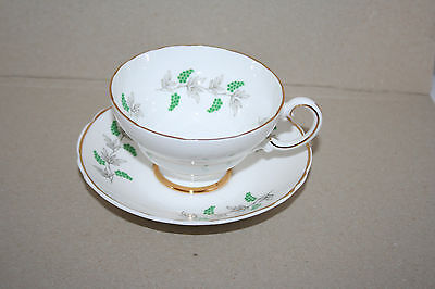 Crown Staffordshire Fine Bone China Cup Saucer Set Made England Gold Gild Accent