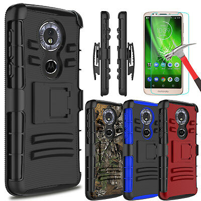For Motorola Moto G6 Play/Forge Armor Case With Kickstand Clip+Screen Protector