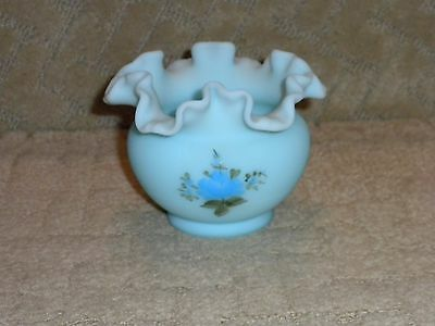 Fenton Blue Satin Custard Glass Vase Bowl Hand Painted Signed