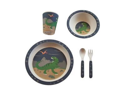 NEW Bobble Art Bamboo Dinner Set - Cup, Plate, Bowl, Cutlery - Dinosaurs