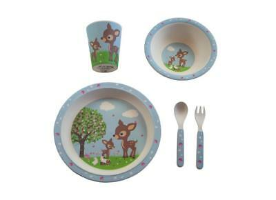 NEW Bobble Art Bamboo Dinner Set - Cup, Plate, Bowl, Cutlery - Woodland Animals
