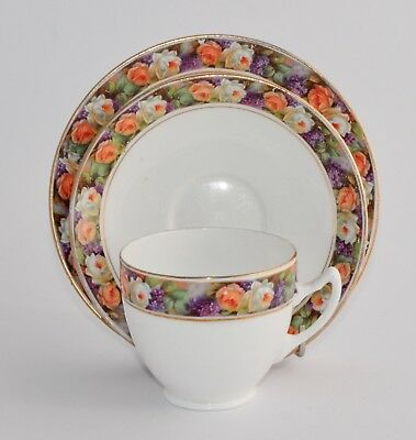 1920s/30s Royal Albert Crown China Trio - #5227 - Roses and Violets Band