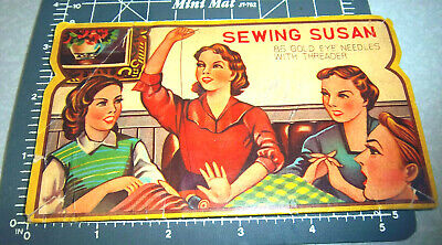 Vintage Sewing Susan version 2 Sewing Needle Book great retro graphics & colors