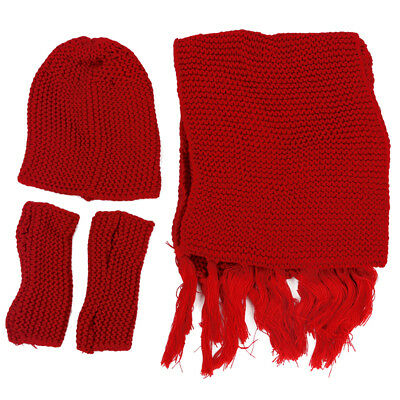 Ladies 3pcs Winter Soft Knit Beanie Hat Long Scarf Gloves Set Red E3I9