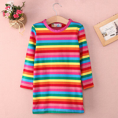 UK STOCK Rainbow girl dresses kids baby long sleeve cotton clothes Skirt 2-7Yrs
