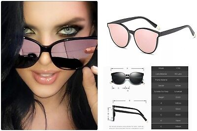 fdcd903ad Rose Gold CAT EYE Women Ladies Sunglasses Mirror Aviator SHADES Retro IBIZA  UK
