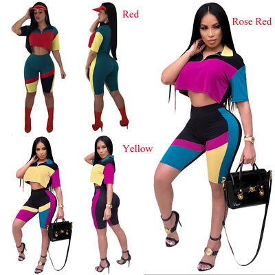 Women Two Pieces Casual Geometry Patchwork Tank Top+Knee Pants Sets Tracksuit