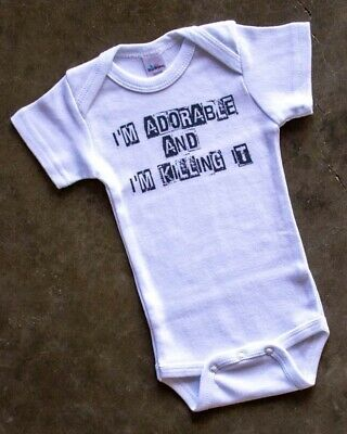 Adorable & Killing It One Piece Baby Romper Cute Fun Cool Gift Black White Alt