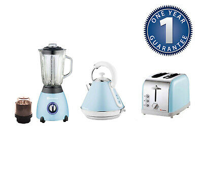 Matching Kitchen Set 1.8L Electric Cordless Kettle Toaster 500W Blender SL BLUE