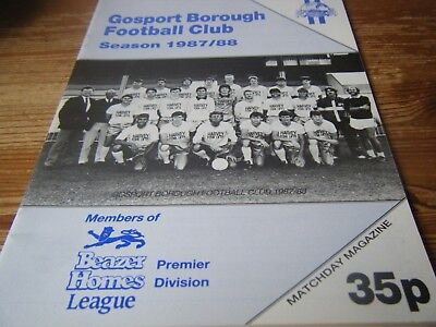 12.09.1987   GOSPORT  BOROUGH  v  YEOVIL  TOWN      F.A.C.  1st  QUAL    VGC
