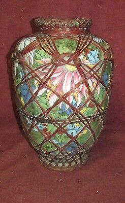 Antique Japanese Satsuma ? Awaji ? Ceramic Vase with Basket Cover Signed
