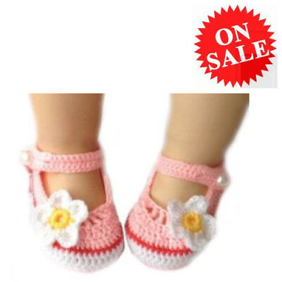 Shoes For Baby Girl Pink With White Flowers Ftbstyle Knitted Crochet Prewalker
