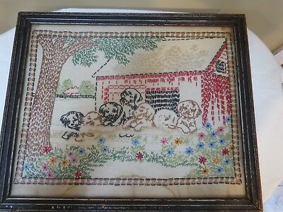 Antique Embroidery Needle Work Puppies at a Fence