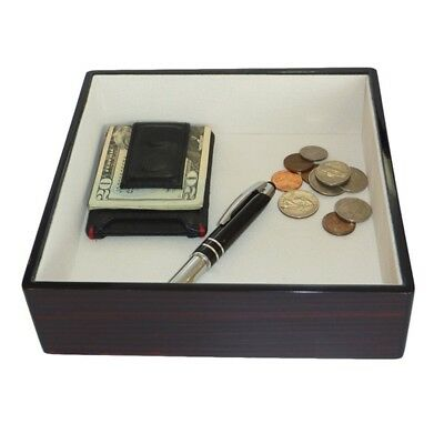 Ebony Wood Lacquer Coin Tray Large Valet Catchall Keys Phone Jewelry Mens Gift
