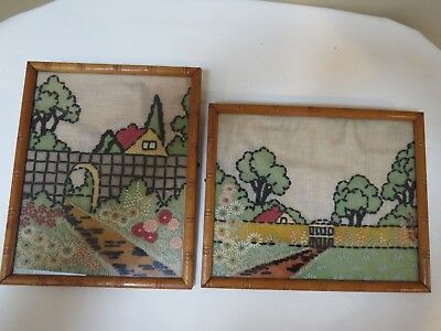 Antique Embroidery Needle Work Pair Cottage Pictures in Bamboo Frames, 1929