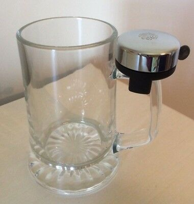 Heavy Glass Beer Mug With Bell 4 Leaf Clover Made In Italy by Fiye