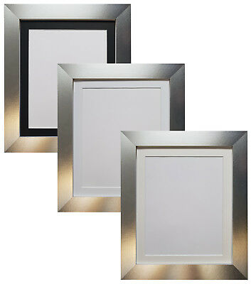 Metro Aluminium Silver Picture Photo Frames with Black White or Ivory Mounts