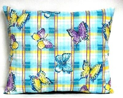 Butterflies Toddler Pillow on Turquoise Plaid Cotton BF20-9 New Handmade