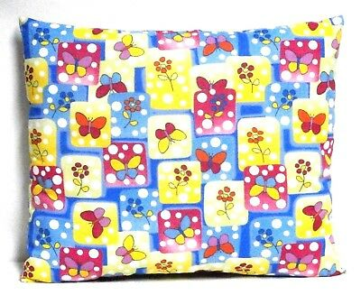 Butterflies Toddler Pillow on multi-color blocks Cotton BF21-6 New Handmade