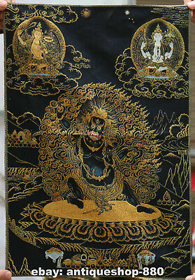 Tibet Tibetan Cloth Silk Mahakala Wrathful Deity Tangka Thangka Painting Mural#2
