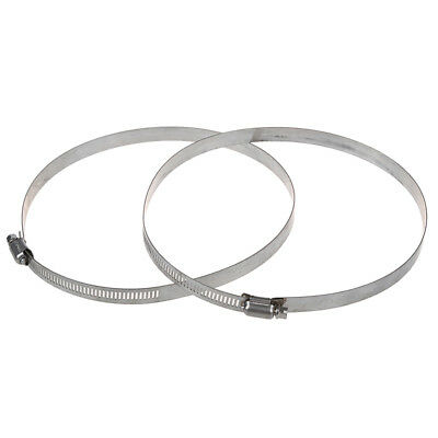 """2 Pcs Stainless Steel Band 155-180mm Adjustable Worm Gear Hose Clamp 6.1""""  M8F6"""
