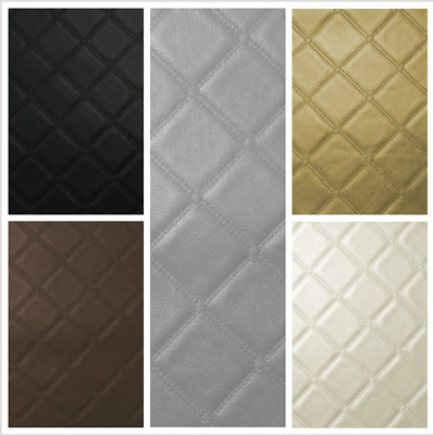 Diamond Trellis Vinyl Quilted Style Leather Upholstery Fabric Leatherette Faux
