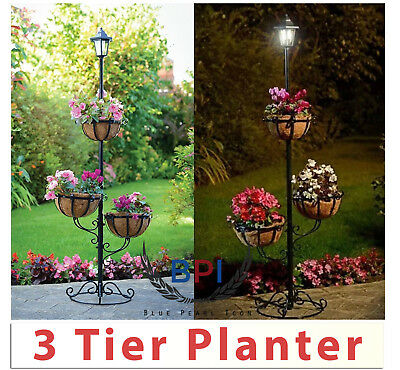 Solar Powered 3 Tier Flower Planter With 3 Hanging Baskets And Top