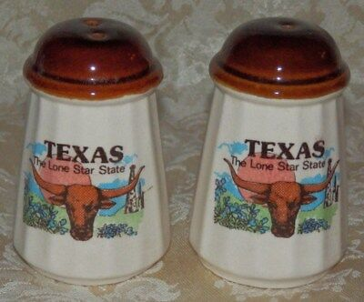 Vintage TEXAS The Lone Star State SALT & PEPPER Shakers 1986 Souvenir