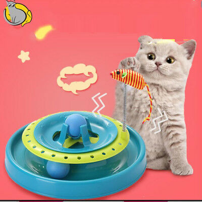Multifunctional Cat Toys with Spring Mouse Amusement Disk Interactive Plate,Blue