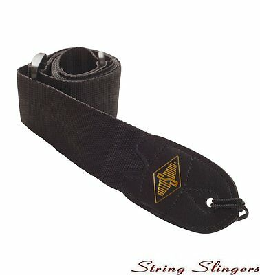 Rotosound 2in webbing guitar strap with leather ends, Black STR1