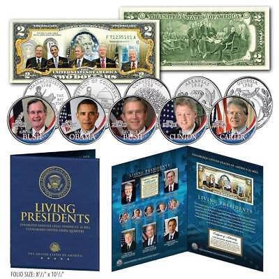 LIVING PRESIDENTS Genuine $2 Bill with 5-Coin State Quarter Coin Set LARGE FOLIO
