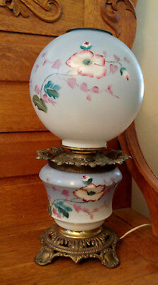 Antique Blue/Pink Floral Painted Gone with the Wind Electrified Oil Table Lamp