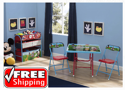 Disney Mickey Mouse Chairs Table Organizer Metal Playroom Set Boys Kids Toddler